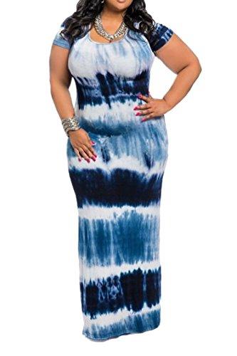 Linsery Women's Chevron Striped Long Maxi Wedding Dress XL Navy Blue