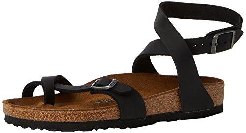 Birkenstock 1011442: Women's Yara Oiled Leather Birko-Flor Black Sandal (41 M EU)