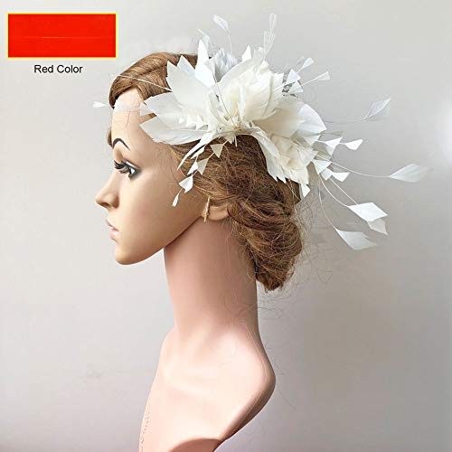Special Red Goose Feather Flower Spray Fascinator Feather Floral DIY Hairwear for Prom Wedding Party