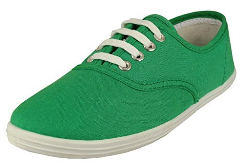 Easy USA - Womens Canvas Lace Up Shoe with Padded Insole Holly Green-6