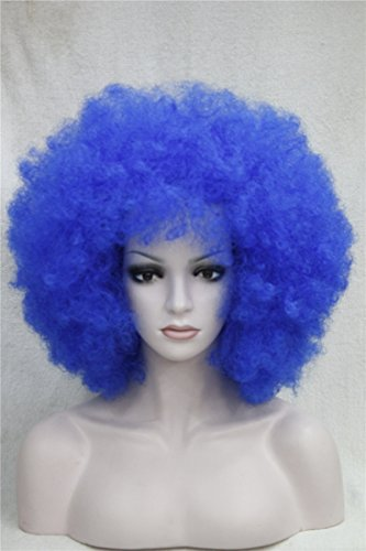 Kalyss Women's Long Afro Curly Hair blue Wigs Heat Resistant Synthetice Fiber wigs (Curly Blue Wig)