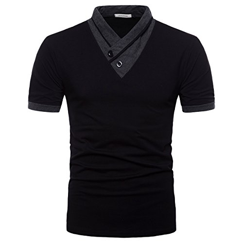V-neck Top T-shirt - LOCALMODE Men's 100% Cotton Casual V-Neck T-Shirt Slim Fit Muscle Short Sleeve Top Tee Black M