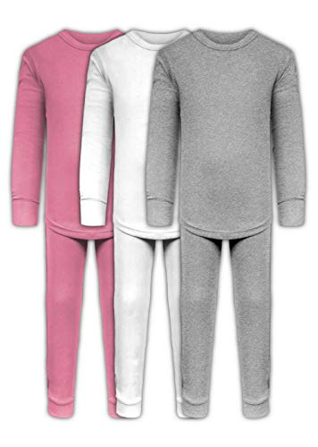 Girls Long Underwear Base Layer Sets/Long Sleeve Top - Long Pant Tights - 6 Piece Mix & Match / 3 Sets (3 Sets/6 Piece- White/Grey/Pink, -