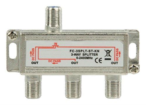 Digitaler 3-fach SAT Antennen Kabel TV BK Verteiler Splitter HDTV 3fach F Verteiler Fernsehen Fernseher Full HD Switch 3er dreier dreifach Weiche Umschalter F-Stecker Stammleitungsverteiler