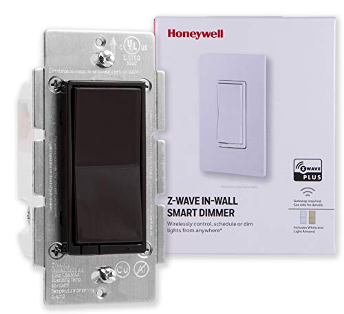 Honeywell Z-Wave Plus Smart Light Dimmer Switch, In-Wall, Brown, White & Light Almond Paddles | Built-In Repeater & Range Extender | ZWave Hub Required - SmartThings, Wink, Alexa Compatible, 38217