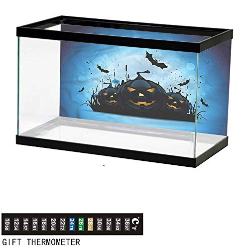 bybyhome Fish Tank Backdrop Halloween,Scary Pumpkins in Grass,Aquarium