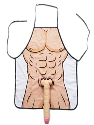 eSmart Sexy Naked Man Woman Couple 3D Apron Willy Boob Super Hero Party Apron Cosplay Lover Dress (Man)