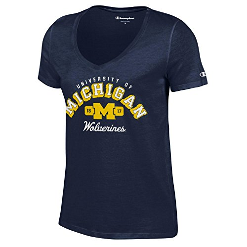 NCAA Michigan Wolverines Women's University V-Neck Tee, X-Large, Navy