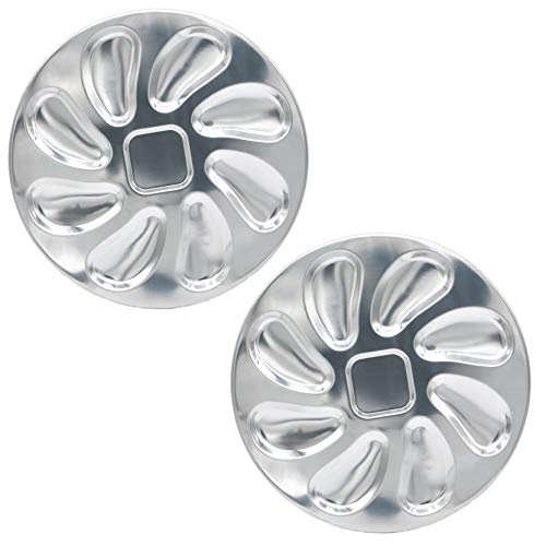 2 Pack Stainless Steel Oyster Plate for Oysters, Oyster Shell Shaped (Serving Platter Oyster)