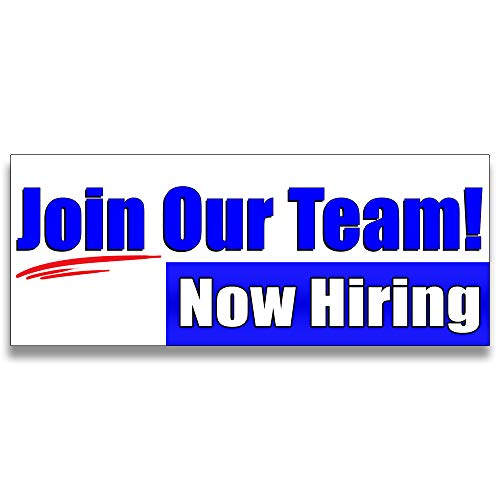 Join Our Team Now Hiring Vinyl Banner 5 Feet Wide by 2 Feet Tall
