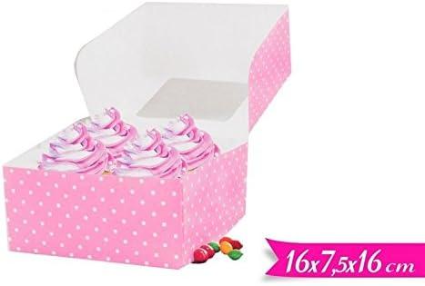 IRPot – 4 Pz. Estuche Box Caja Porta tartas caja 16 cm lunares ROSA POIS BIANCHI 706431: Amazon.es: Hogar
