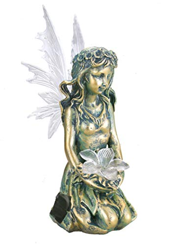 Bo-Toys Solar Powered Fairy Angel with Wings and Solar Glowing Flower, Garden Light Decor