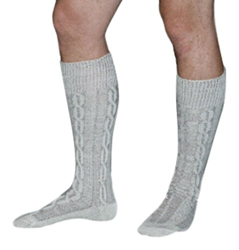 Long Embroidered German Lederhosen Cotton Socks Cream -
