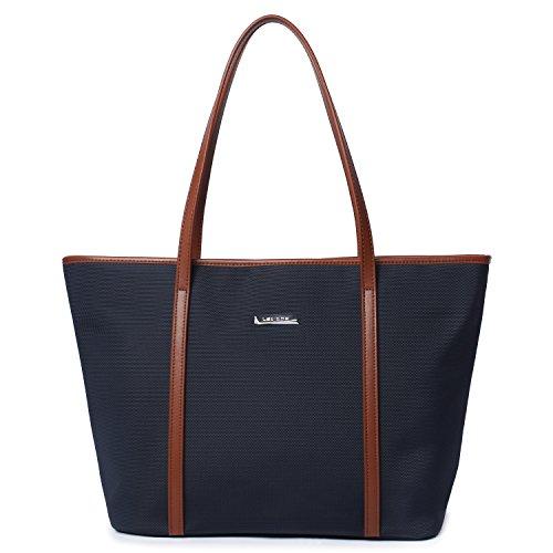 Let It Be Basic Medium Travel Tote Shoulder Bag for Women - 17.7 Inch Top Length Laptop Tote Dark Blue + Brown
