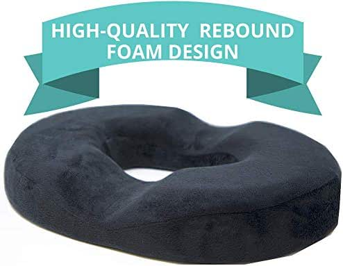 Donut Cushion for Tailbone Pain, High-Quality Rebound Foam, Ultra Premium Quality Pain Relief; Tailbone, Hemorrhoid's, Post-Surgery Relief, Bed Sores - Firm
