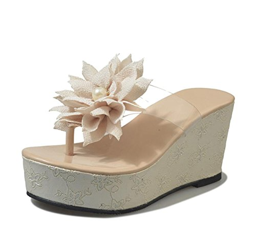 Beach Summer Flores Chanclas Heel Beige Zapatos Toe Chanclas Sandals caseros Clip DANDANJIE Womens Flip Holiday Wedge Flops 1U8Ccqcw
