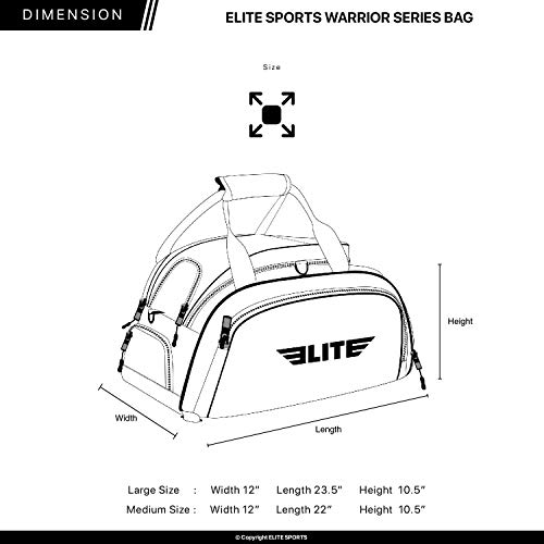 8e795a6fc35b Elite Sports Warrior Boxing MMA BJJ Gear Gym Duffel Backpack Bag with Shoe  Compartment