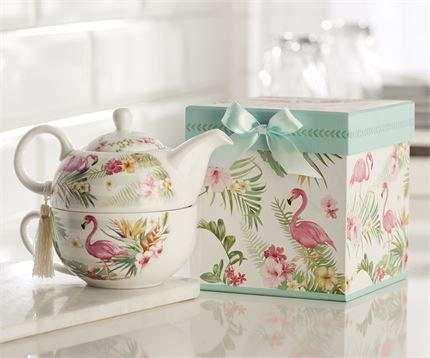 Giftcraft Bone China Tea Set for One in Gift Box, Flamingo Design by Giftcraft (Image #4)