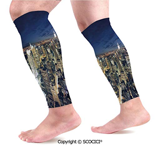 Flexible Breathable Comfortable Leg Skin Protector Sleeve Modern Cityscape After Sunset Manhattan New York USA Architectural View Calf Compression Sleeve