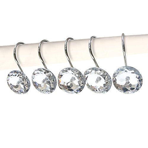 QianHai 12 Pcs Acrylic Decorative Rhinestone Rolling Shower Curtain Hooks for Bathroom and Living Room (Shower Curtain With Sparkles)