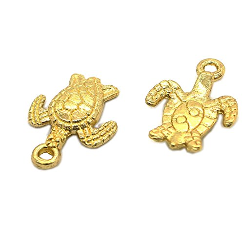 - 100pcs Antique Gold Tortoise Turtle Sea Charms Pendant Jewelry Findings for Jewelry Making Necklace Bracelet DIY (#100pcs Gold)