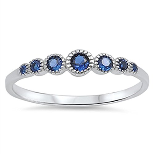 - Women's Round Blue Simulated Sapphire Cute Ring New 925 Sterling Silver Band Size 5