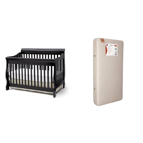Delta Childrens Products Canton 4 in 1 Convertible Crib and Simmons Kids BeautySleep Crib and Toddler Mattress, Black