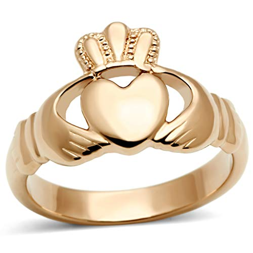 Womens Ip Rose Gold Irish Celtic Claddagh Stainless Steel Ring,Size:7 ()