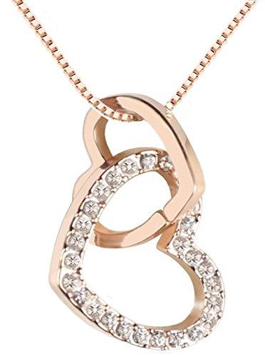 QUADIVA E! Damen Halskette Herzkette Kette mit Anhänger Herz (Farbe: rosegold) verziert mit funkelnden Kristallen von Swarovski®
