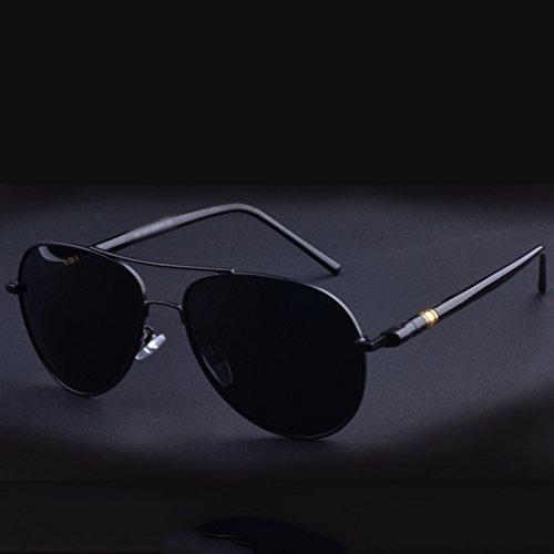 de Eyeglasses Hombre UV Aviador Gafas Sol Protección Sunglasses Polarizadas LINNUO Conducción Vintage Anteojos Mujer Lente Negro de HCqtZwB