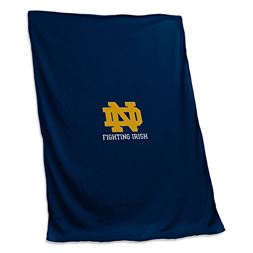 Applique Fleece Blanket - Logo Brands NCAA Notre Dame Fighting Irish Unisex Notre Dame Sweatshirt Blanketnotre Dame Sweatshirt Blanket, Navy, Adult