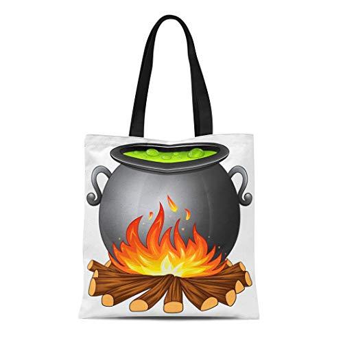 Semtomn Canvas Tote Bag Shoulder Bags Black Cartoon of Cauldron Boiling Green Potion on Wood Women's Handle Shoulder Tote Shopper Handbag ()