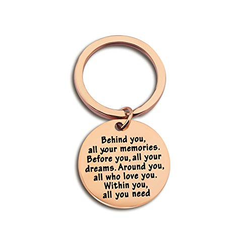 FEELMEM Graduation Gifts Behind You All Memories Before You All Your Dream Graduation Keychain Inspirational Graduates Gifts 2018, 2019 (Rose Gold) (Stainless Steel Gold Keychain)