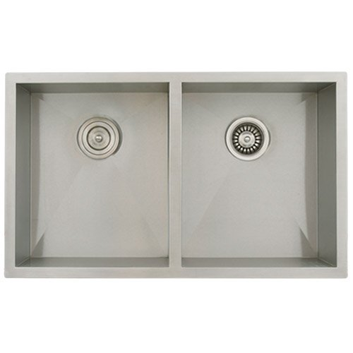 Phoenix 32 Undermount Double Bowl 16 Gauge Stainless Steel Square Kitchen Sink Zero Radius