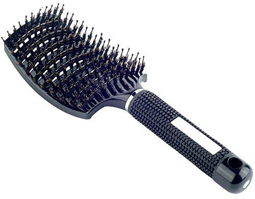 Natural Boar Bristle Hair Brush - Curved Vented Detangling Blow Dry Brush for Women Long, Thick, Thin, Curly Hair (Best Way To Brush Wet Hair)