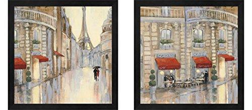 - Touring Paris Couple by Julia Purinton, 2 Piece Black Framed Art Set, 13 X 13 Inches Each, Cityscape Art