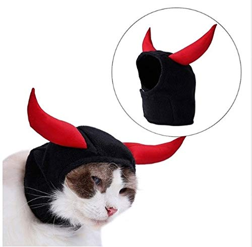 (Taka Co Dog Halloween Costume New Bull Devil Head Cover for Cat Hat Cosplay Halloween Teddy Puppy Kitten Horn Turnover Hat Turban Pet)