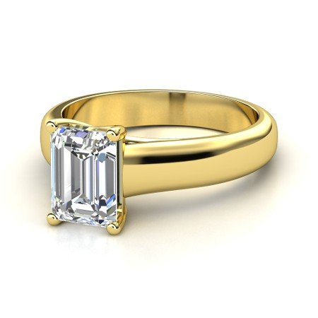 taire Diamond Engagement Ring Emerald Cut ( F Color SI1 Clarity 0.50 ctw) - Size 7 (14k White Gold Stock)