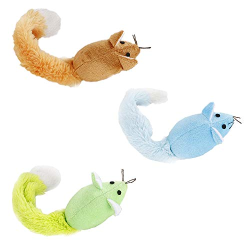 ActiveCraft Mouse Cat Toy Pack: Long Tail Furry Chew Mice 100% Natural Materials Organic Catnip (3 Pack, Mixed)