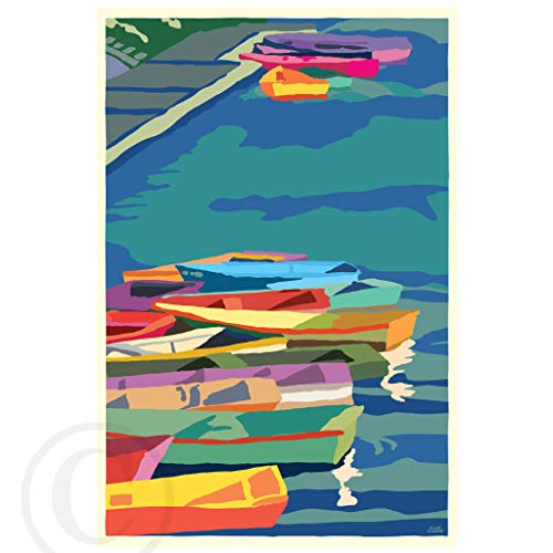 Perkins Cove Dinghies (Vertical) Framed Art Print (24