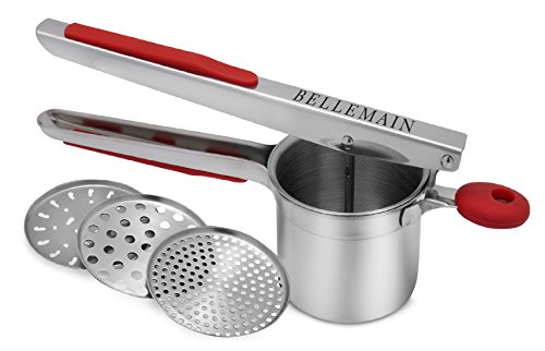 Top Rated Bellemain Stainless Steel Potato Ricer with 3 Interchangeable Fineness Discs-Full 2-Year Warranty by Bellemain