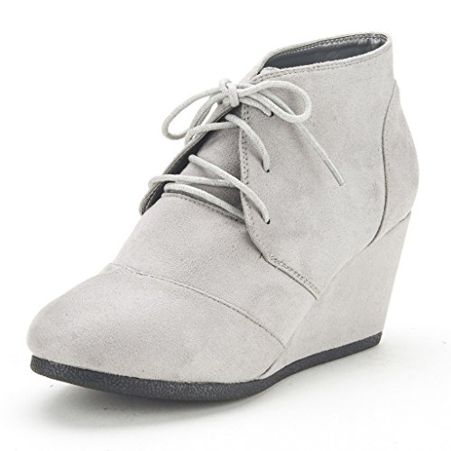 DREAM PAIRS Womens Fashion Casual Outdoor Low Wedge Heel Booties Shoes Tomson-light Grey Pgcgivocd