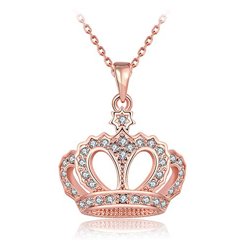 - Queen Style 18K Rose Gold-Plated Crown Necklace Pendant (Rose Gold)