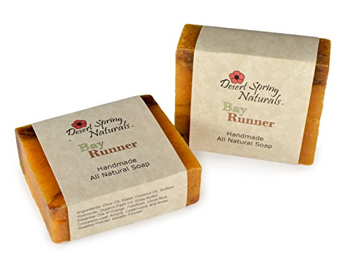 All Natural Vegan Bay Runner Handmade Bar Soap by Desert Spring Naturals Made With Essential Oils of Orange, Patchouli, Clove, Cinnamon and Anise (2 B…