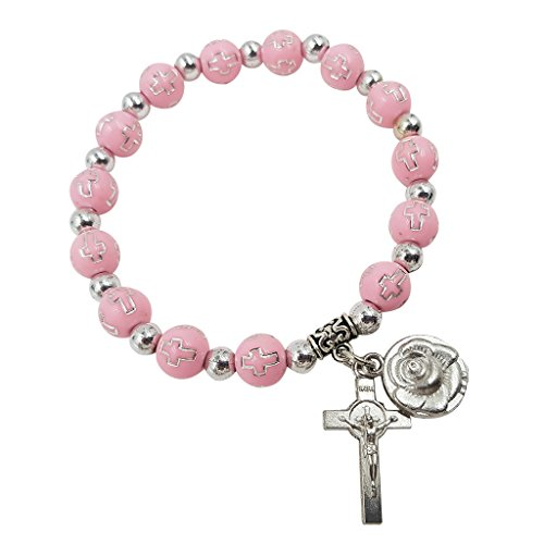Pink Rosary Beads Catholic Bracelet For Women Stretch Bracelets Rose & Cross Charms Christmas Gift
