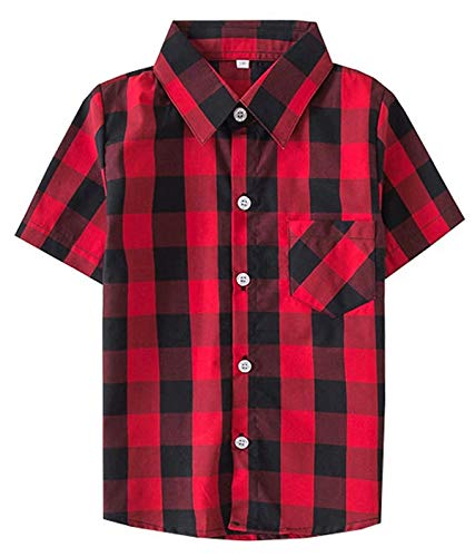(Baby Boy Shirts, Summer Short Sleeves Button Down Cotton Plaid Shirt for Baby Boy & Little Boy, Red Black, 18-24 Month = Tag 90)