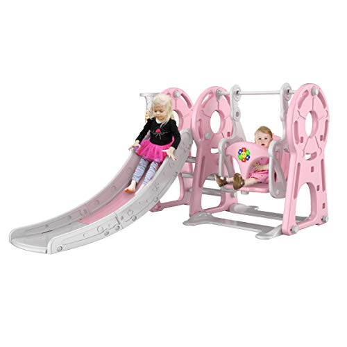 Buy Bargain KingSo Slide and Swing Set for Toddlers 4 in 1 Combination Climber Slide Playset Basketb...
