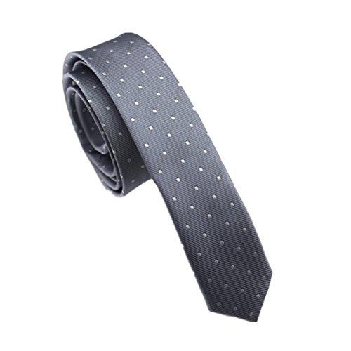 Elviros Men's Eco-friendly Fashion Polka Dot Skinny Tie 1.6'' (4cm) Grey (Necktie Silk Chain)
