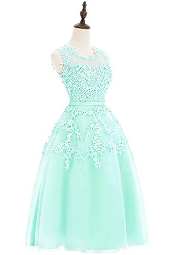 Babyonlinedress Vestido para fiesta de noche para boda estilo ajustado y elegante escote redondo sin mangas espalda de cierre transparente verde ligero