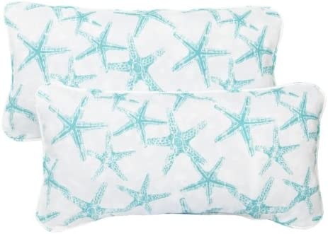 Mozaic Company Indoor Outdoor 12 by 24-inch Corded Pillow, Aqua Starfish, Set of 2